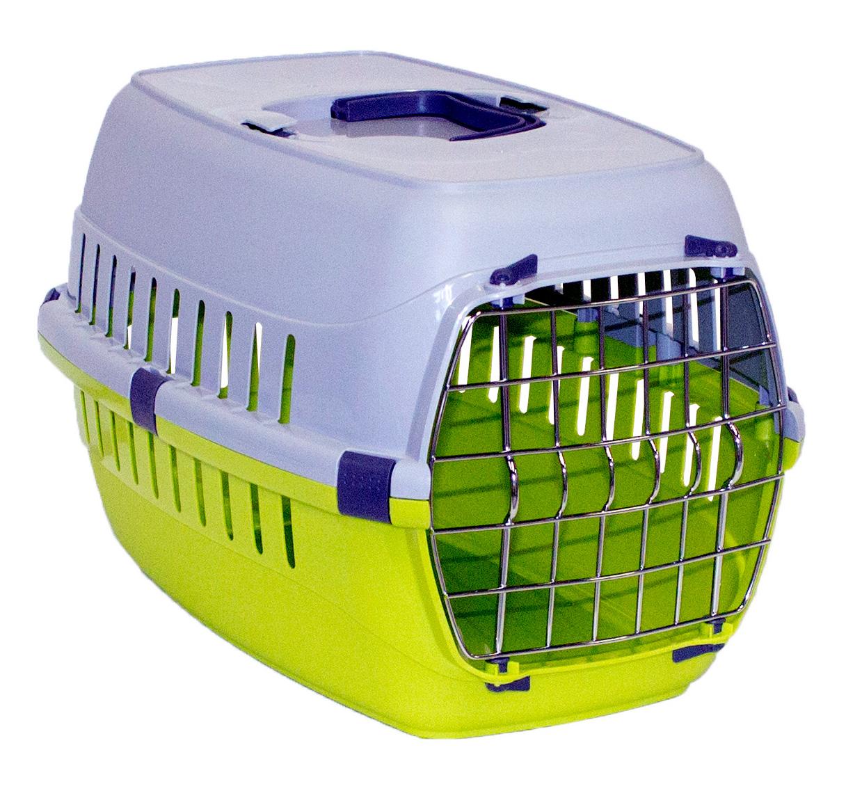 Transportbur Roadrunner 1 Metalldörr Neongrön MP Hundburar plast Dörr Väskor Hundburar