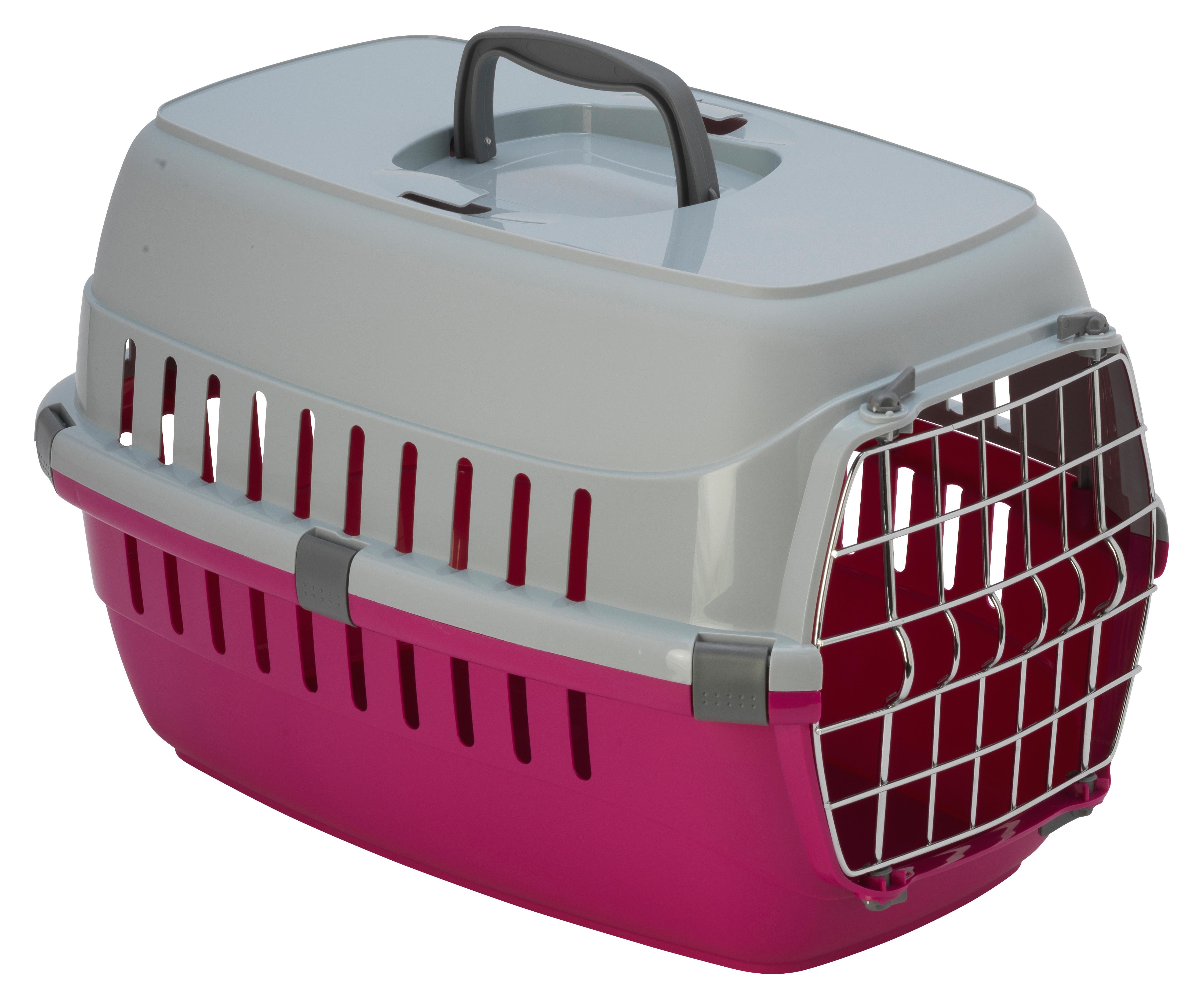 Transportbur Roadrunner 1 Metalldörr Hot Pink MP Hundburar plast Dörr Väskor Hundburar