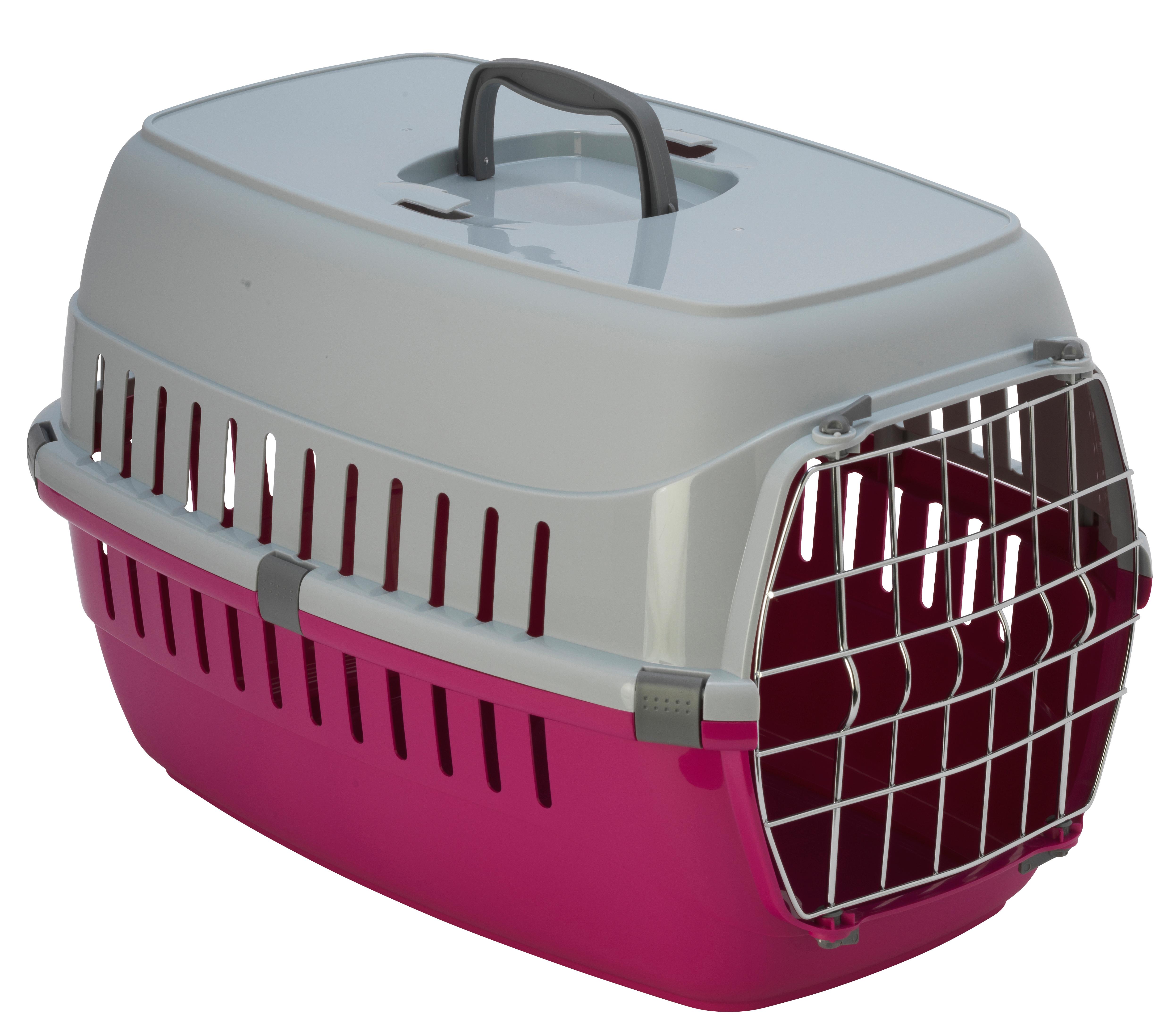 Transportbur Roadrunner 2 Metalldörr Hot Pink MP Hundburar plast Dörr Väskor Hundburar